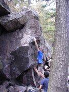 Rock Climbing Photo: Melin throwing out.
