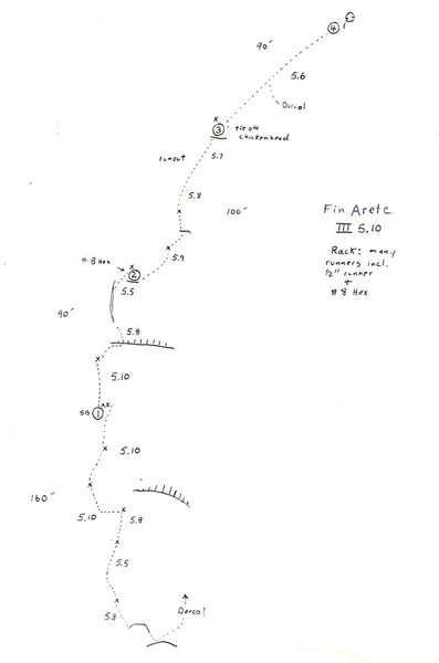Rock Climbing Photo: Original topo showing the route as done in 4 pitch...