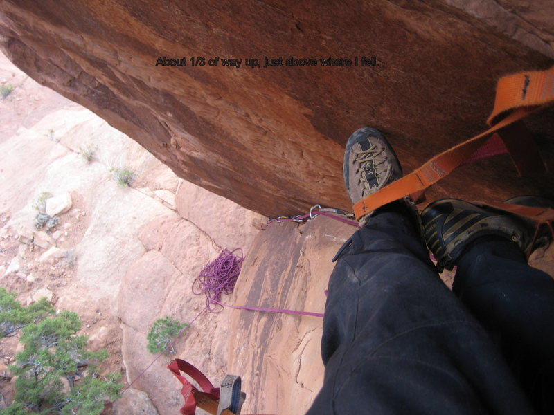 1/3 of the way up Spire, just above where my piece blew.
