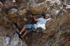 Rock Climbing Photo: Todd starting on the roof on Cleft Lip.