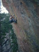 Rock Climbing Photo: F.A. of Pabst Trap. The route continues right from...
