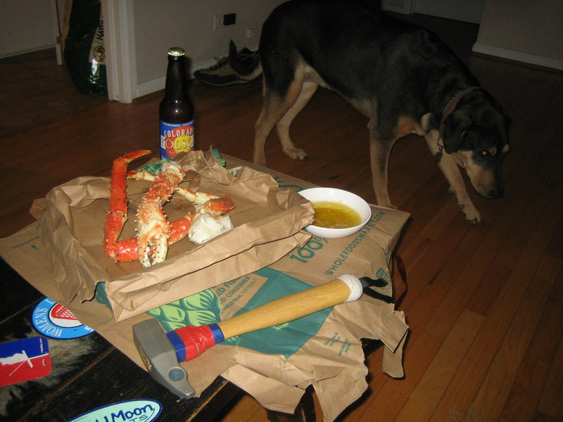 FREE---&gt@SEMICOLON@Fresh King Crab. Cold Beer. Butter. Yosemite hammer.My Dog. =Perfect!!!!!<br> Hint:<br> If your buddy asks to use your Jugs and some lockers for Guide school in Alaska you say.. YES!!!