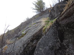 Rock Climbing Photo: Retreat spot. Also a clear photo of the route 'Han...