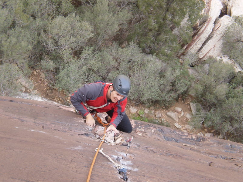 Rock Climbing Photo: Me following Mary up P1 of Fold Out