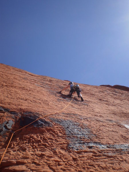 Rock Climbing Photo: Mary cruising the sustained slab