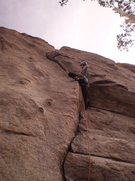 Rock Climbing Photo: Mary plugging pro at the crux