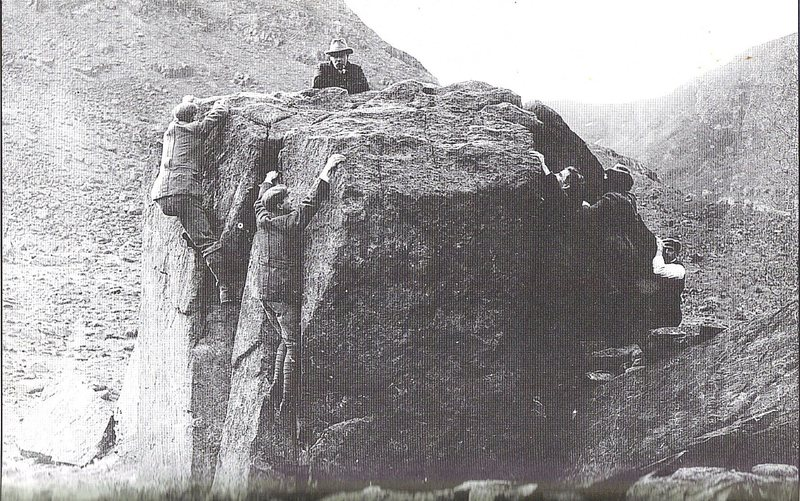 Photo taken during a bouldering competition  in July 1890, One unlucky bloke fell 2' on the North Route and got a terribly muddy jacket.Its rumored that the judge looking over the top with the pipe is non other than Eric Bjornstad ?
