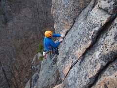 Rock Climbing Photo: Jamie McNeill pulls the crux overhang on Carpenter...