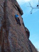 Rock Climbing Photo: Jamie McNeill heading toward the crux of Plumb Lin...