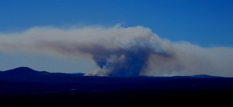 Rock Climbing Photo: Controlled burn, seen from Higher Solitude.