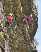Rock Climbing Photo: In the P2 overhangs