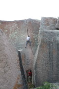 Rock Climbing Photo: Daniel leading Top choice and approaching the crux...