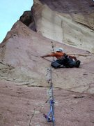 Rock Climbing Photo: On first pitch, west face crack, 512a.