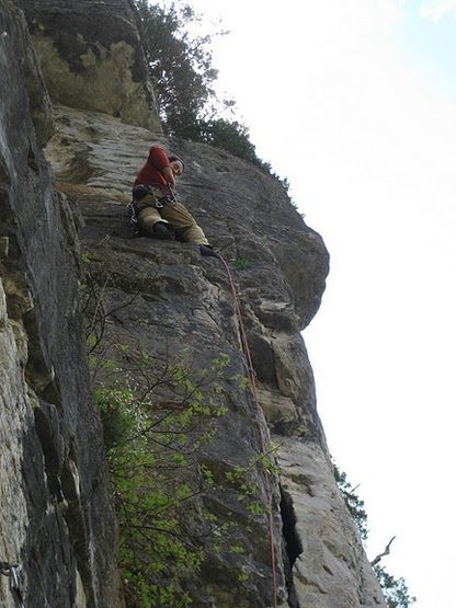 Rock Climbing Photo: Evan Kennedy midway up an unnamed 5.9+ at River's...