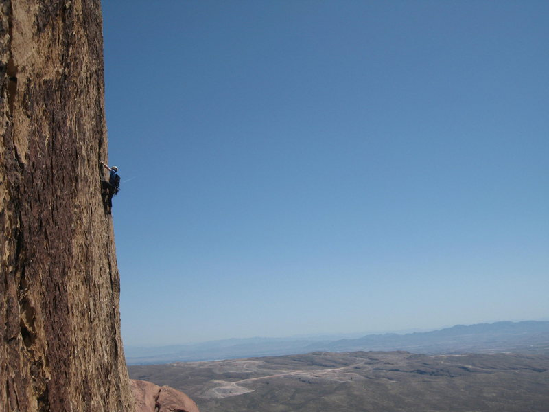 Rock Climbing Photo: Unknown climber cruxin on Leav.  Taken from P5 of ...