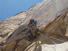 Rock Climbing Photo: Bennett getting his aid on.