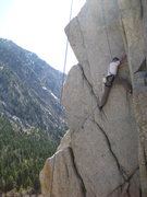 Rock Climbing Photo: Ben finishing up the stemming bottom portion. (His...