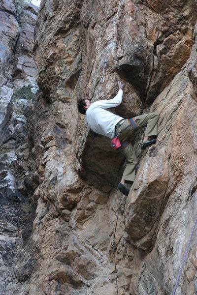 Rock Climbing Photo: Ryan, pullin hard on his on site run.