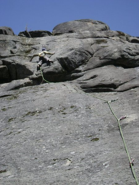 Rock Climbing Photo: Pulling through the well protected crux