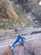 Rock Climbing Photo: Bert is following one of the first 5.10 pitches on...