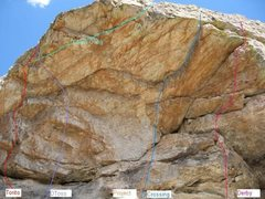 Rock Climbing Photo: The cave routes.  There is a line of exploratory h...