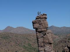 Rock Climbing Photo: Jim and Steve; Shmotem Pole summit 4.26.10