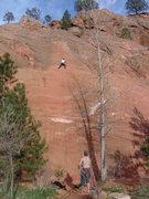 Rock Climbing Photo: Nearing the top of Jumping the Gun.