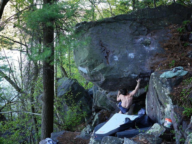 Rock Climbing Photo: Sweatpants in send mode.  1st (big) move.