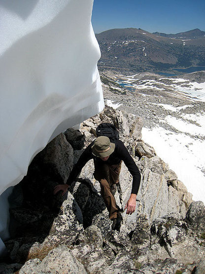 Rock Climbing Photo: J bypassing the remaining snow on the ridge proper