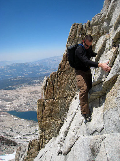 Rock Climbing Photo: J on one of the slab moves just past the second ra...