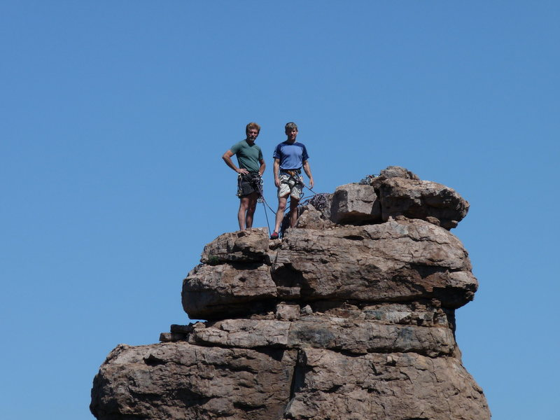 Rock Climbing Photo: Steve and Jim have conquered the Shmotem Pole