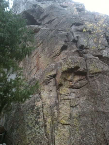Railroad Arete at the Fountain Buttress, Glenwood Canyon. Railroad Arete shares the same start as Chicken Out Arete and then stays left at the top to finish in the steep dihedral, finishing at its own anchor.