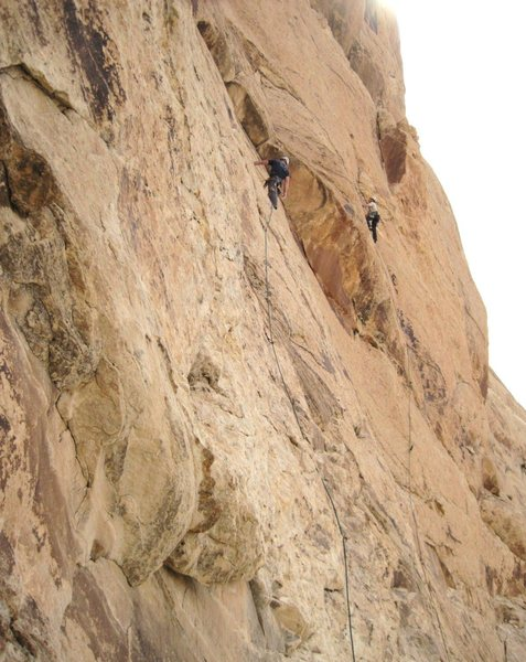 Salt Lake team in Three Finger Canyon.Tom Hore on Rat Trap 5.10 and Jim Howe on Rat in the Hat 5.9