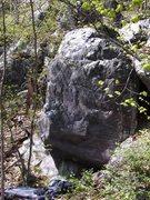 Rock Climbing Photo: Peter's Corner goes up left side of boulder.
