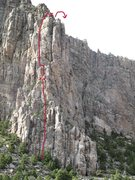 Rock Climbing Photo: Route in red taken to the saddle where the good ro...