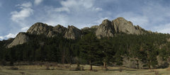 Rock Climbing Photo: Part of Lumpy Ridge. From left to right: The Pear,...