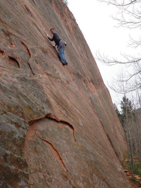 Rock Climbing Photo: Me leading Wake to Wake just before the crux secti...