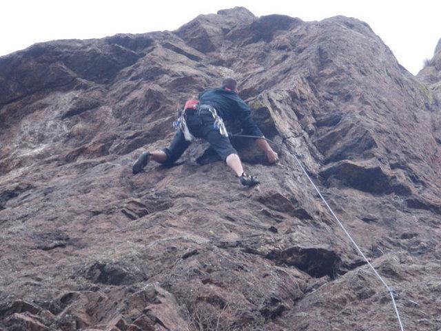 Rock Climbing Photo: Baker smashing Corrugation Corner.
