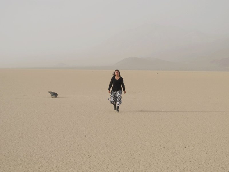 Extreme winds, and dust storms can't even keep us from our desert adventures. : )<br> <br> Visiting the mysterious sailing stones at Racetrack Playa on 4/27/10 on our way to explore the backcountry of DV.