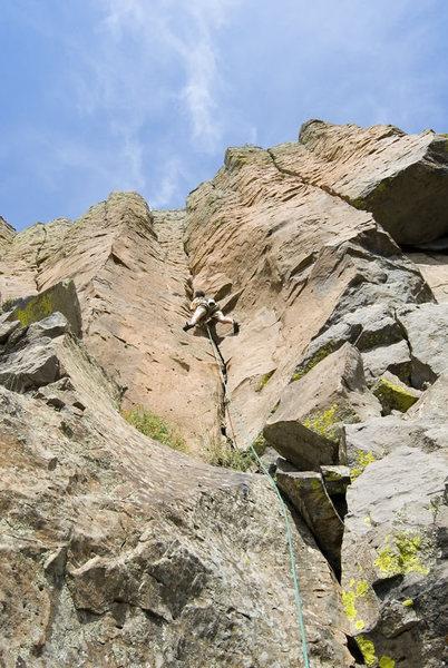 Rock Climbing Photo: Shaun Weller on the Crack Head. (5.8)