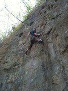 Rock Climbing Photo: Ted pullin through the crux