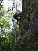 Rock Climbing Photo: Brad heading towards the second bolt.