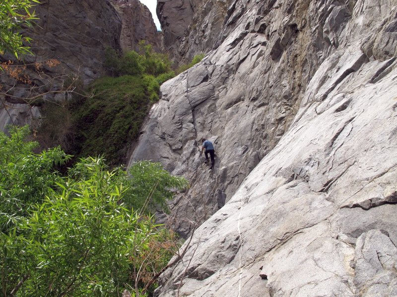 We can always find something to climb, even on our non-climbing desert adventures. Jonny starting up the fixed ropes.<br> <br> In McElvoy Canyon in the Saline Valley in Death Valley. Lots of lush vegetation, with beautiful waterfalls, and crystal clear creeks this time of year in McElvoy Canyon. There were old, ratty fixed ropes to ascend the steeper sections of the canyon. I highly recommend this hike if you're in the Saline Valley.<br> <br> Taken 4/21/10