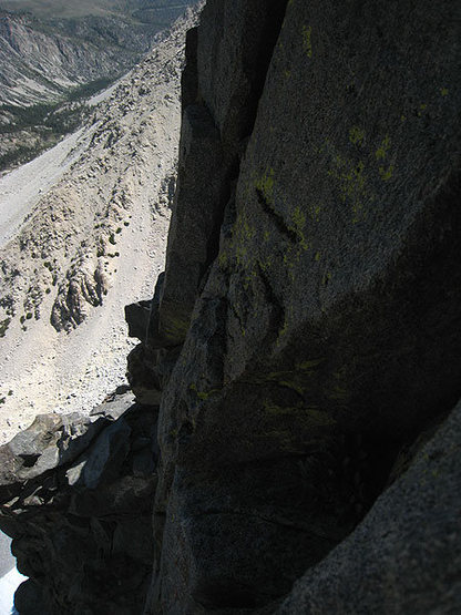 looking back at the exposed 5.7 traverse