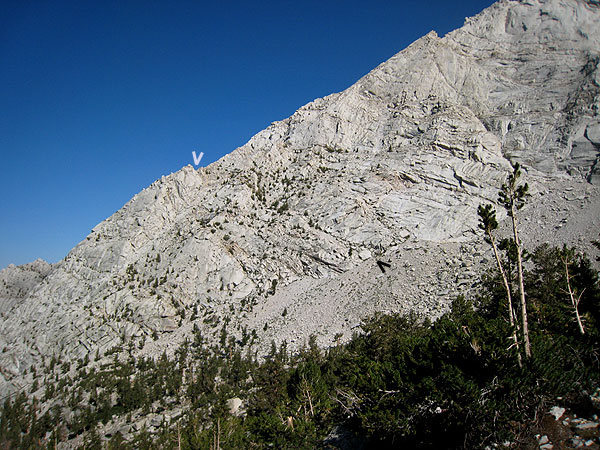 Rock Climbing Photo: start/end of approach ramp noted
