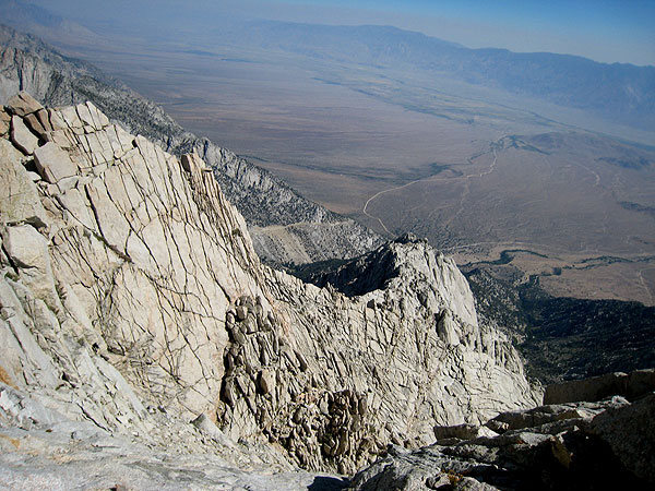 looking back down toward the owens valley
