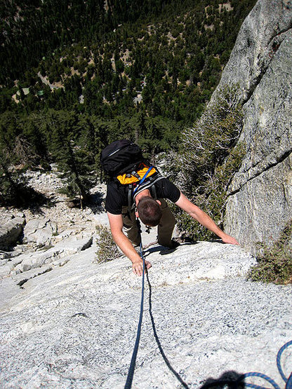 jascha approaching the second belay