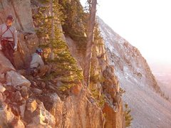 Rock Climbing Photo: Fett and Rudster setting the rap into the notch.