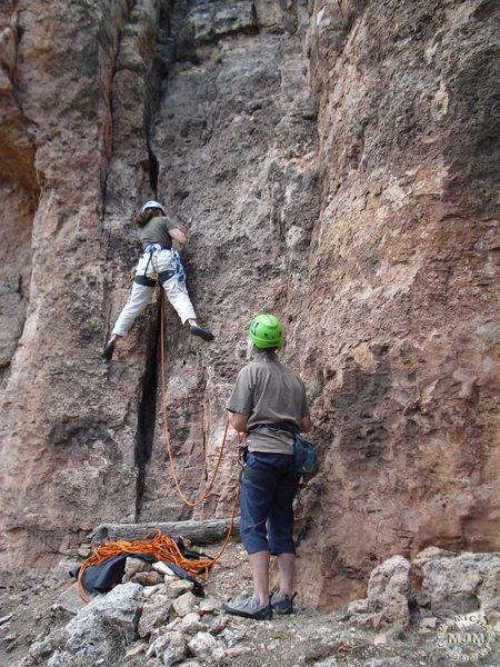 Rock Climbing Photo: Carol starting.