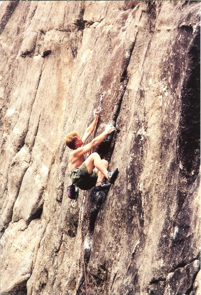 Rock Climbing Photo: Chip leading Creature from the Black Lagoon. Photo...